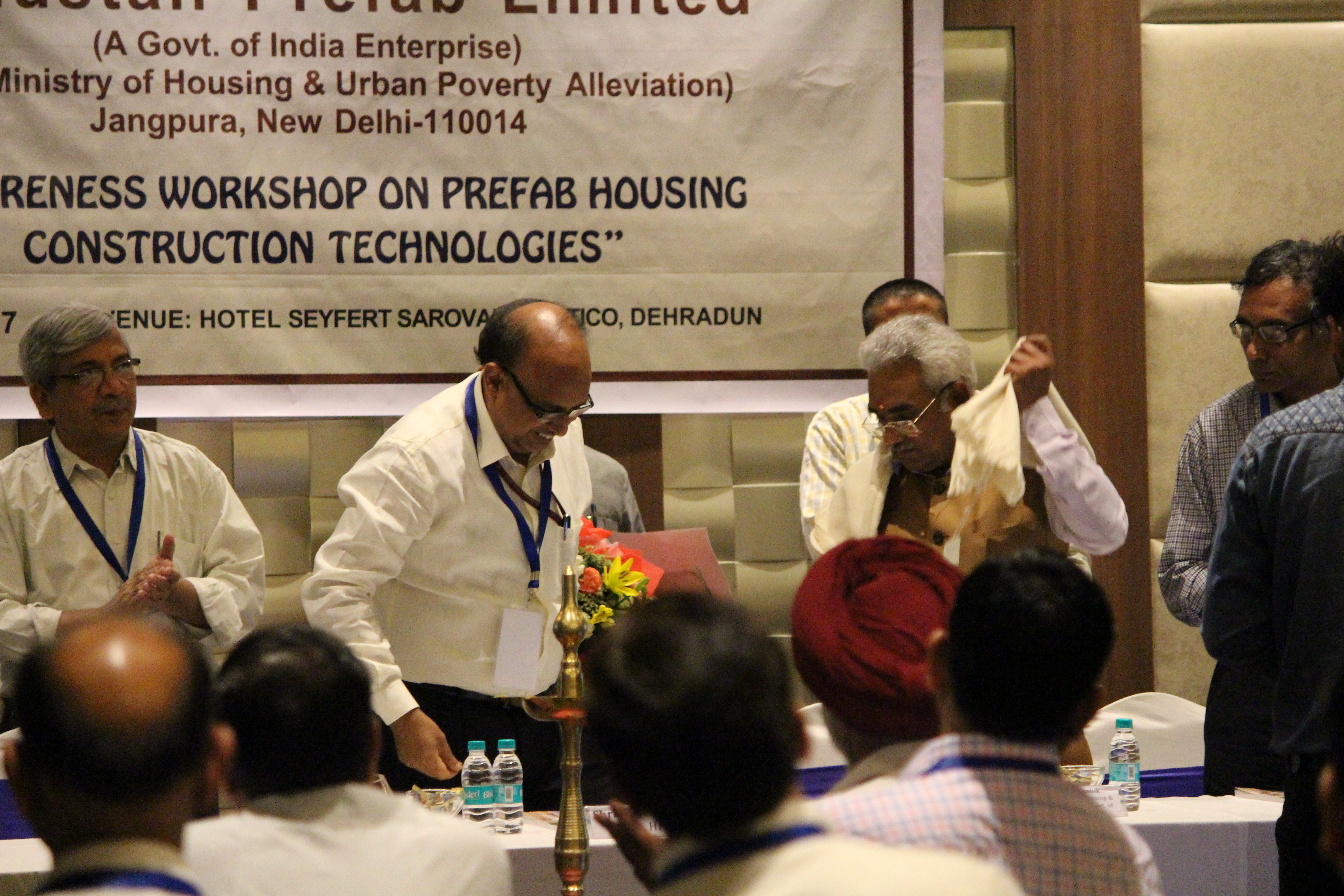 "HPL organized a one dayAwareness workshop on prefab housing construction technologies under the Prime Minister scheme ""Housing for All by 2022"" on 12th May, 2017 at Hotel SeyfertSarovar Portico, Dehradun. The event received very enthusiastic response. Over 115 Delegates from various prefab construction industries, Govt. Bodies, Research & Academic institutionsparticipated in the event. Sh. Madan Kaushik, Honourable Minister of Housing & Urban Development, Govt. of Uttarakhand inaugurated the workshop."